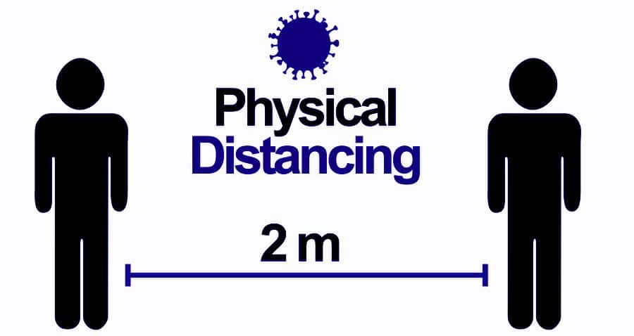 physical distancing 2 m